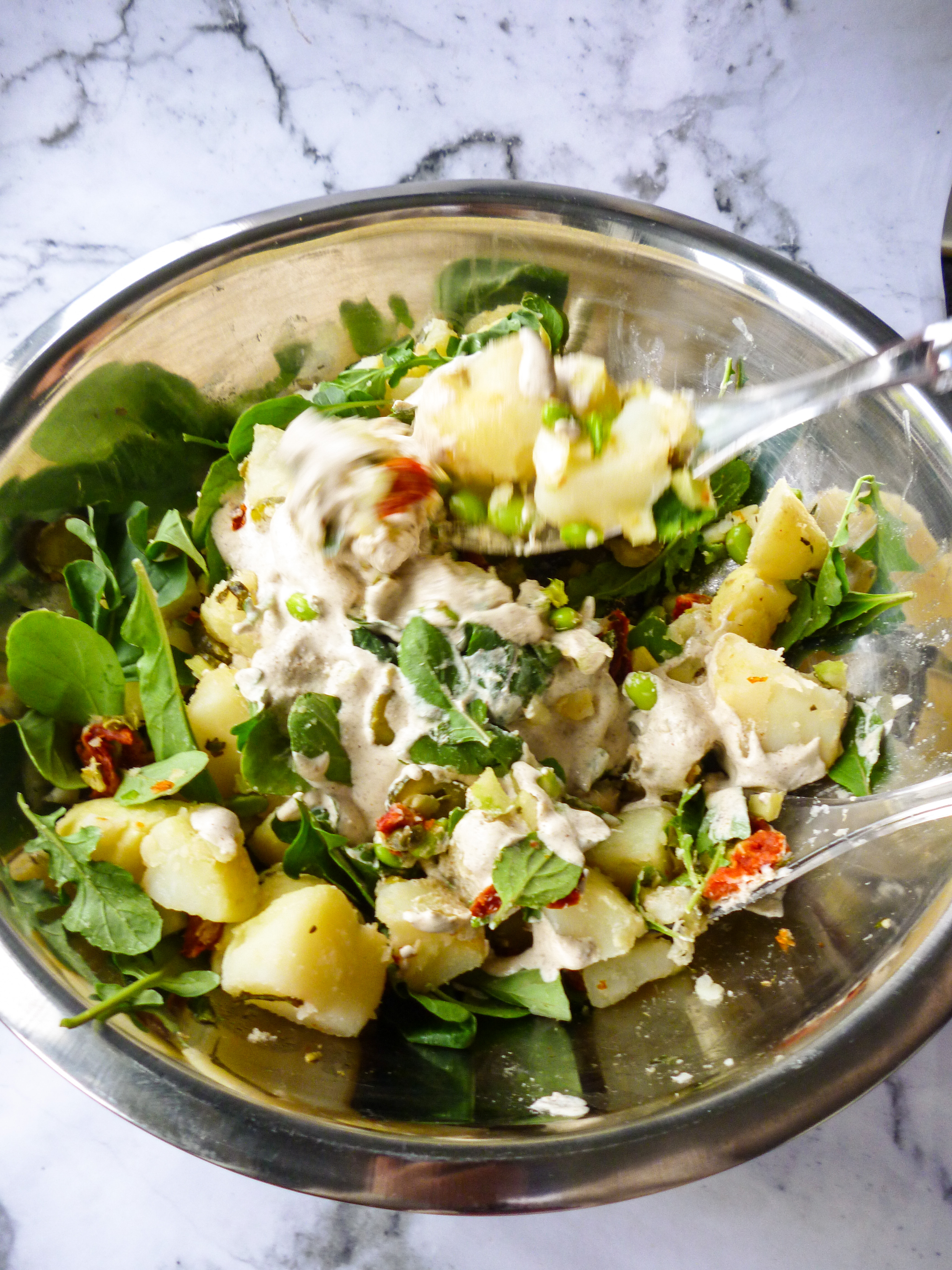 Potato Salad with Coconut Bacon, Roasted Almonds, Edamame Beans and a Creamy Almond Tahini Dressing 5