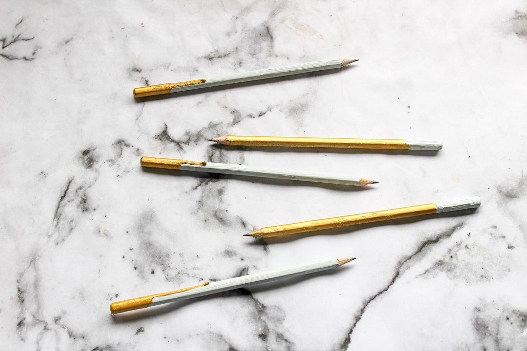Concrete and Gold Dipped Paint Drip Pencils 2