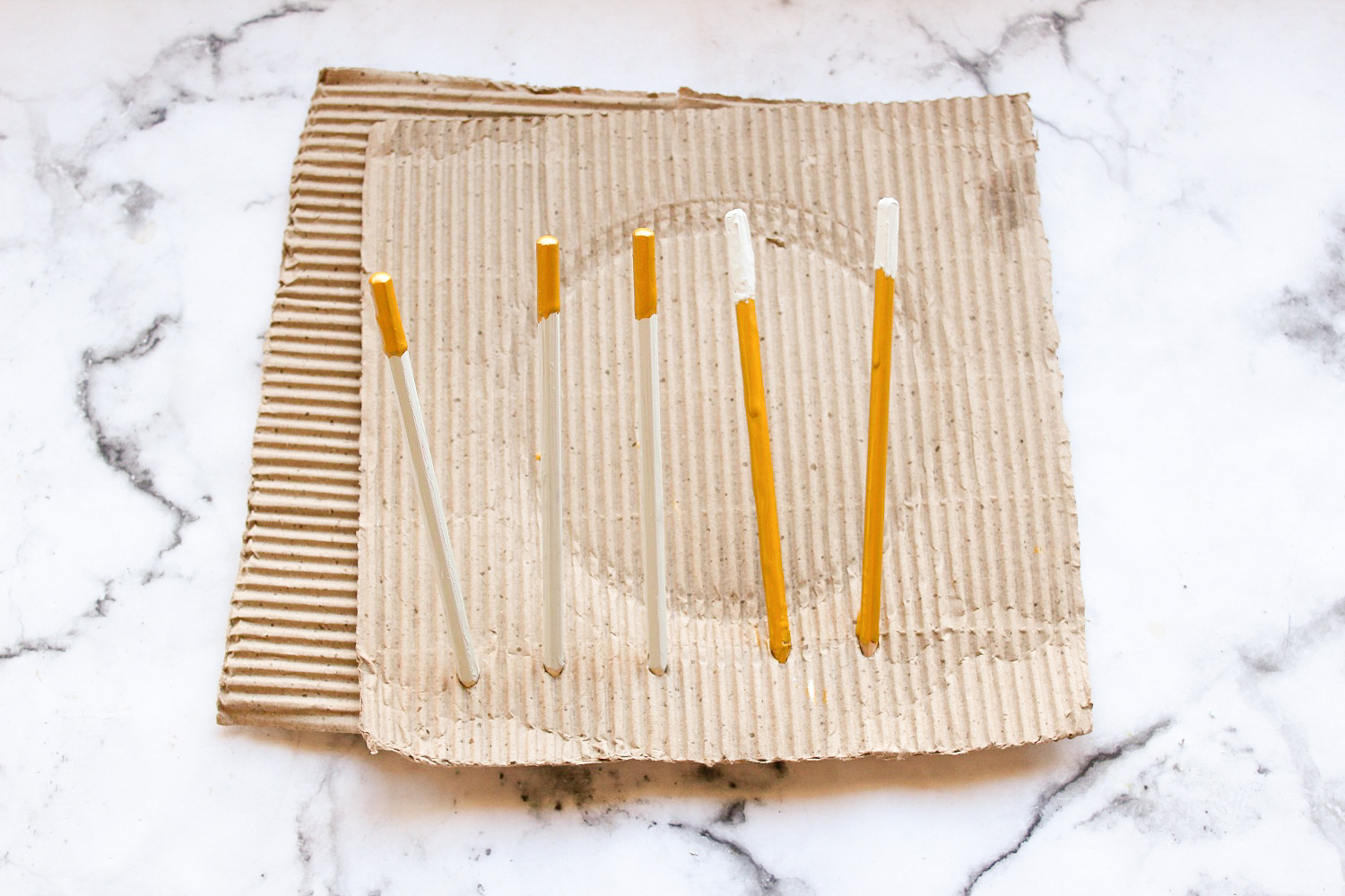 Concrete and Gold Dipped Paint Drip Pencils 6