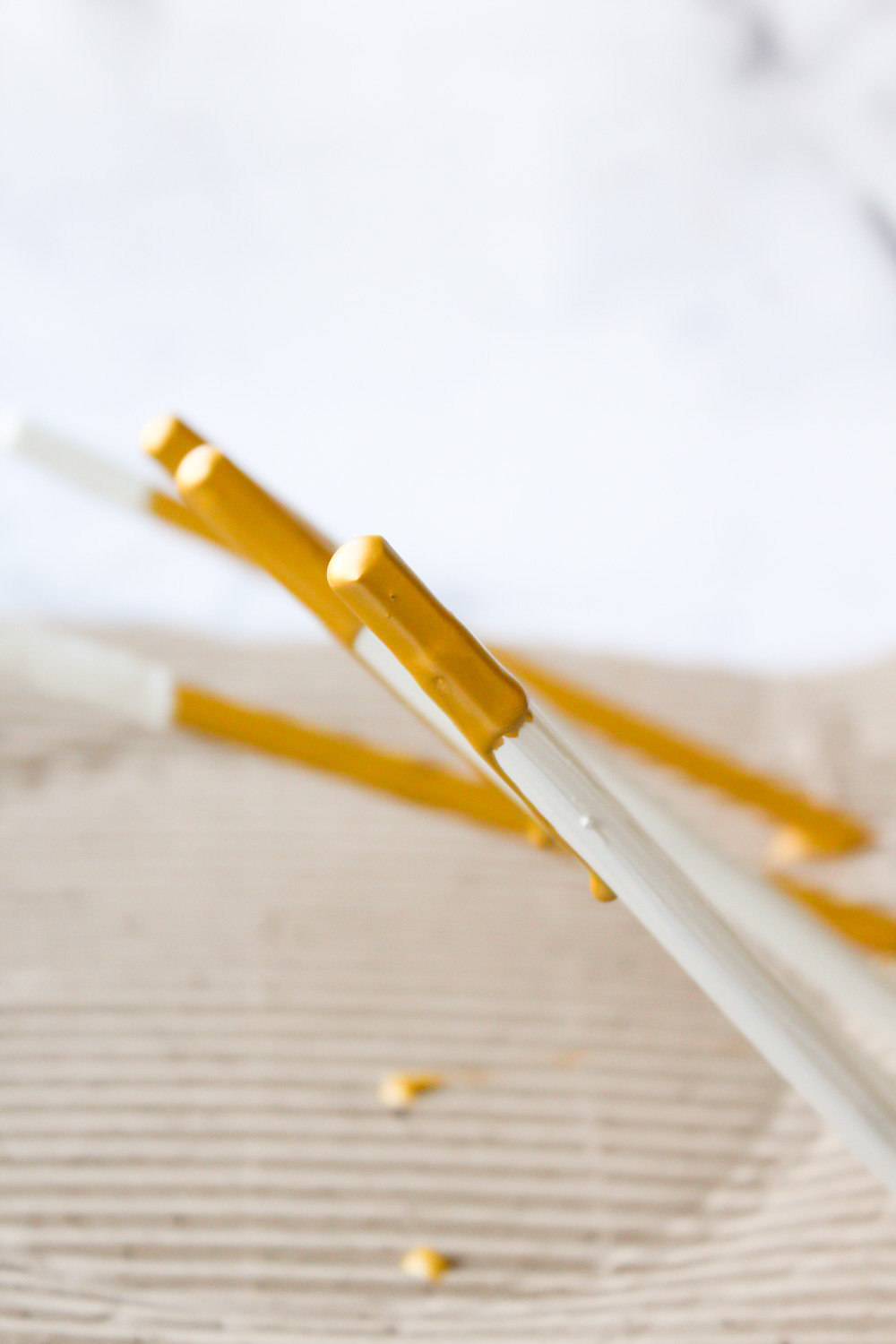Concrete and Gold Dipped Paint Drip Pencils 7