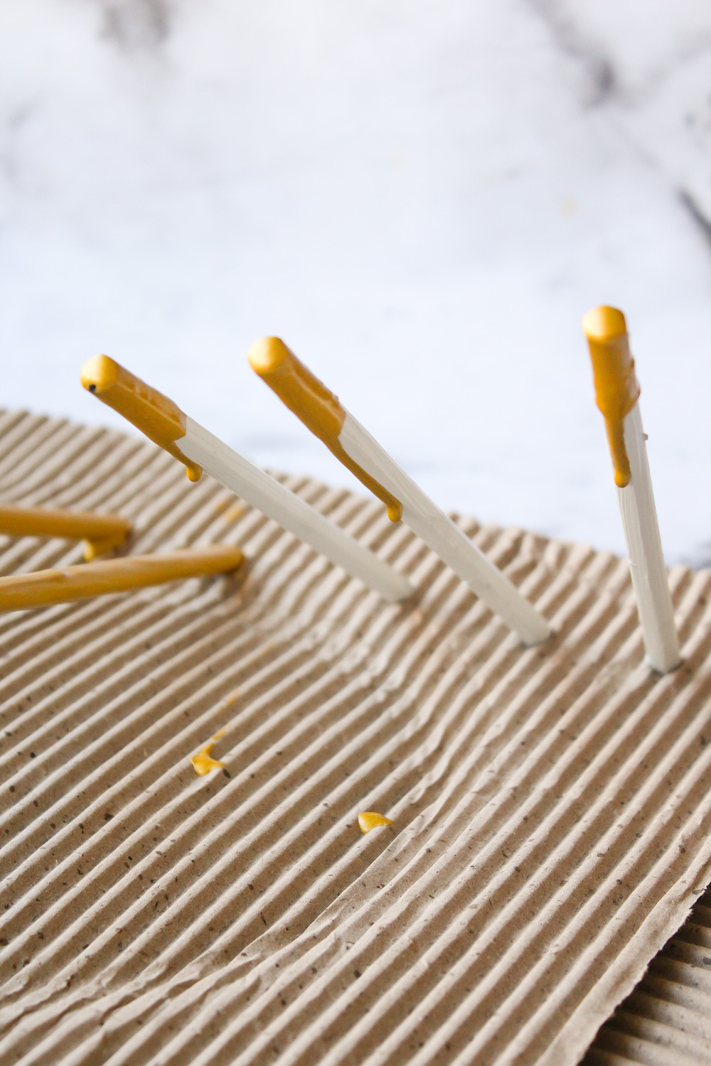 Concrete and Gold Dipped Paint Drip Pencils 8