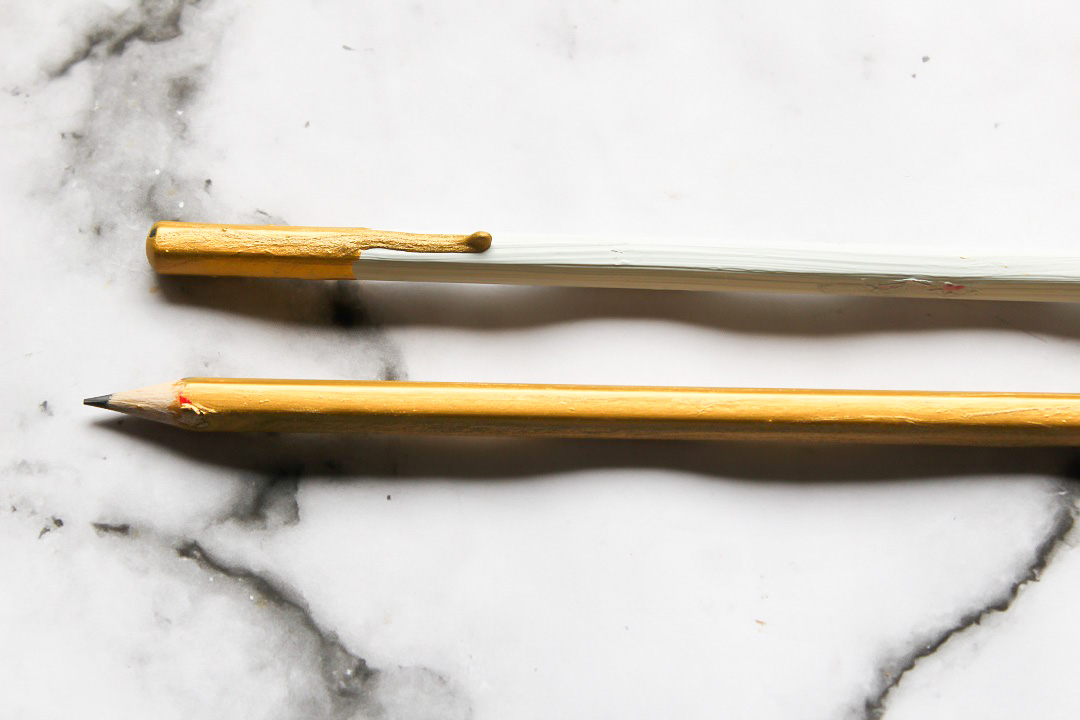 Concrete and Gold Dipped Paint Drip Pencils 9