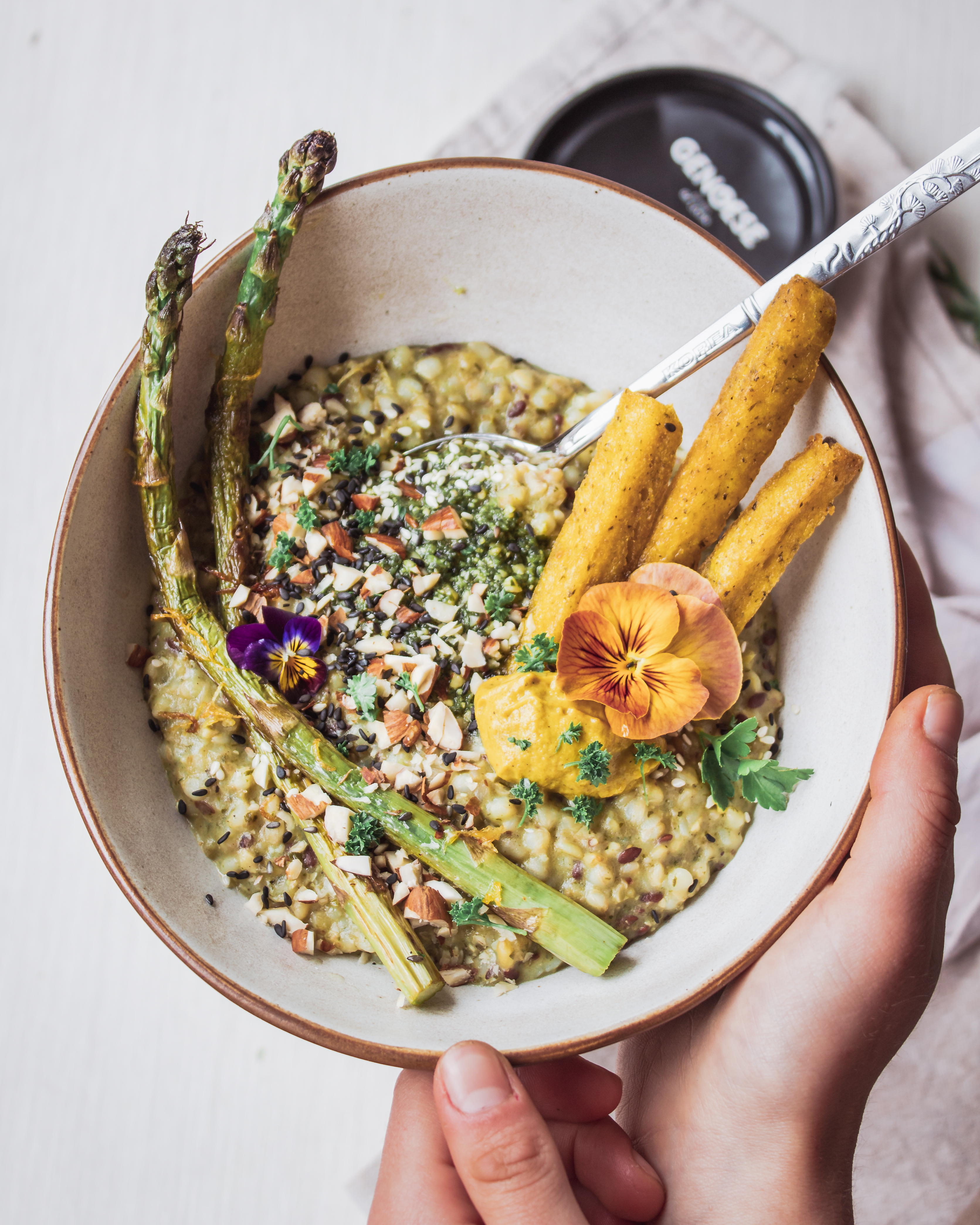 Buckwheat and Freekeh Pesto Risotto with Lemon-Seared Asparagus and Cheesy Pesto Polenta Chips (Vegan)-8